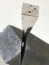 Photo: WEDGE IMPACTING RHOMBOHEDRON - 10H X 12W X 7D Lost Foam Iron Casting (as-cast and polished) and Polished Steel, Collaboration with Marilyn Block Ugiansky (Detail View)