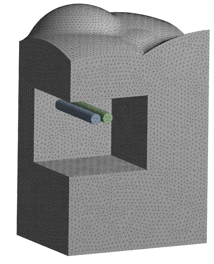 ANSYS Область грунта с ранее существующими тоннелями