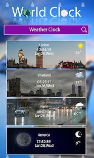 World clock widget and weather: Time of Countries
