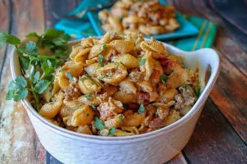 """Taco Pasta """"This pasta is creamy, delicious, and tastes like tacos! It..."""