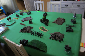 Photo: Dark Angels v Dark Eldar, deployment, alternate view