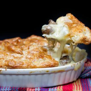 Cheesy Chicken & Mushroom Pie.