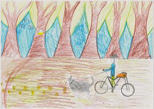 """Photo: praca Gabrysi :""""Jeździmy rowerem, bo ... to zdrowo i przyjemnie"""""""
