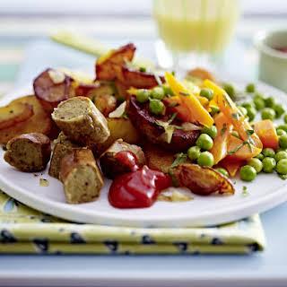 Tofu Sausages with Sautéed Potatoes, Peas and Carrots.