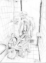Photo: 老爸爸尿尿2011.04.27鋼筆 老爸爸換好衣服、上完廁所,準備進開刀房…