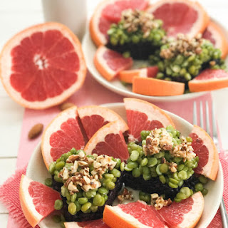 Grapefruit with Roasted Almonds Black Rice and Green Peas.