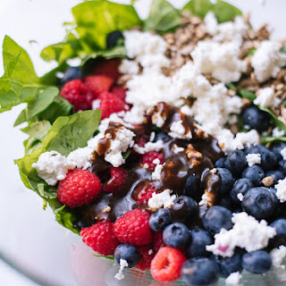 Berry Spinach Salad with Spicy Maple Sunflower Seeds.