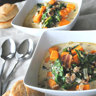 Sausage, Spinach and Sweet Potato Soup