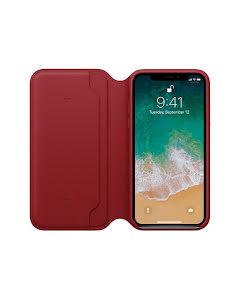 Apple iPhone X Leather Folio Case Red