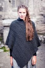 Photo: Aran Cable Poncho -  This Poncho features the popular Aran Cable stitch styled in a horizontal fashion. A modern trend with a classic Aran twist, this garment is great paired with jeans and boots or a full flowing skirt for a more bohemian chic approach.  www.aransweatermarket.com/aran-wool-cable-knit-poncho
