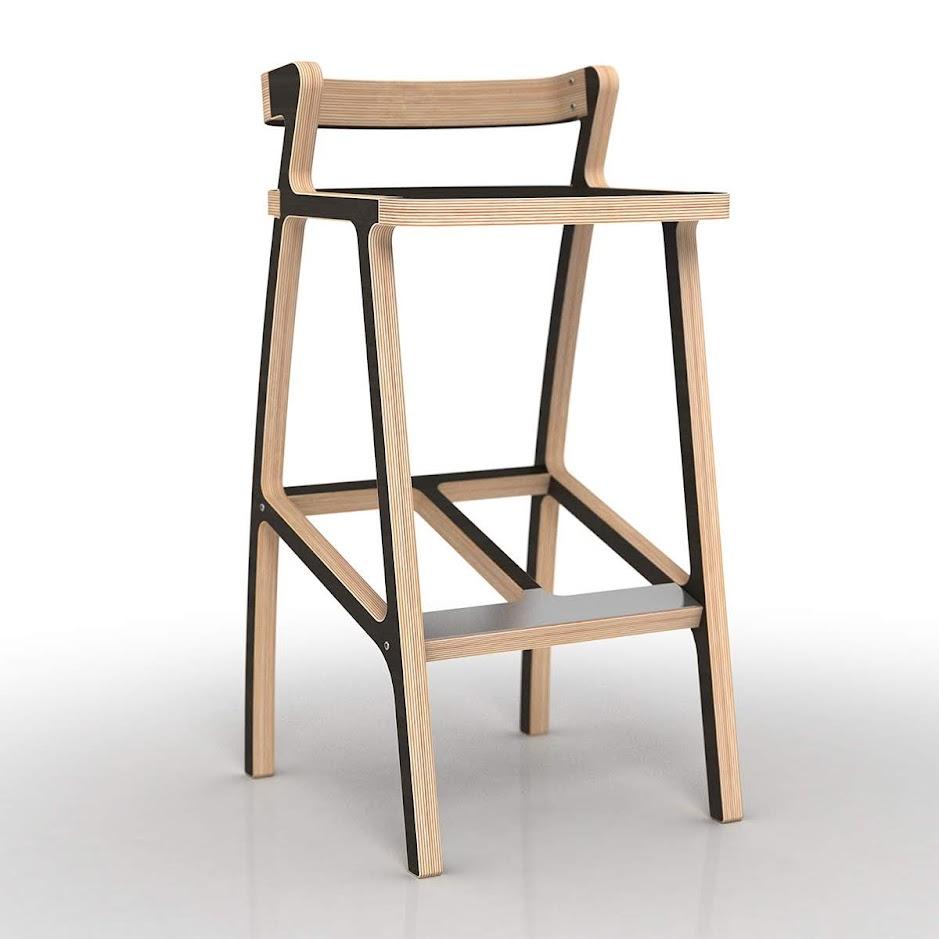 Барный стул из фанеры - вид спереди