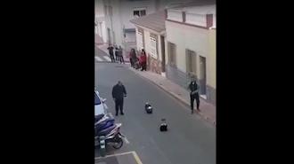 Captura de pantalla del vídeo en el que se puede ver a dos vecinos conduciendo los coches.