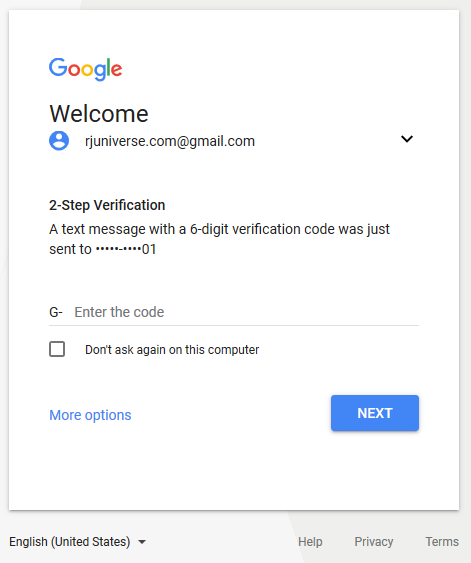 Sign In to Gmail - two step verification