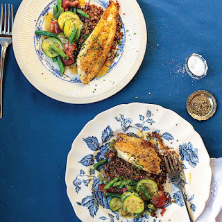 Pan-Fried Sole with Red Quinoa and Vegetables.
