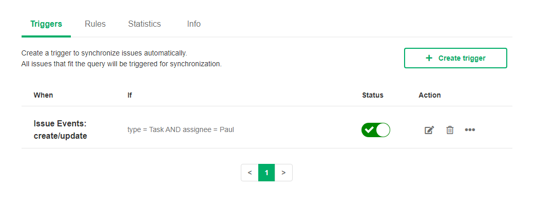 activate a jira snow sync trigger