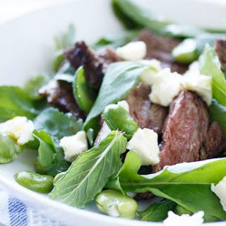 Lamb, Broad Bean and Rocket Salad with Mint and Feta