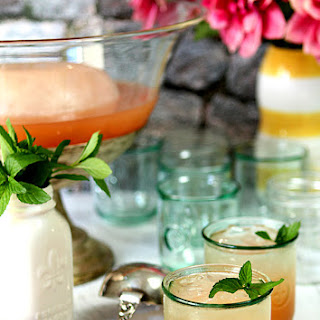 Texas Bourbon Punch With Pink Grapefruit and Mint.