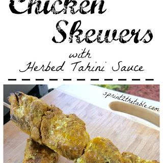 Middle Eastern Spiced Chicken Skewers with HerbedTahini Sauce.