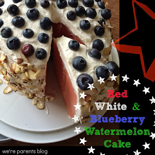 Red, White, & Blueberry Watermelon Cake with Homemade Whipped Topping + Time For Mom.
