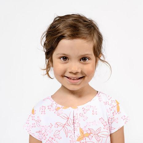 Fiol - Mönstrad trikåklänning till barn