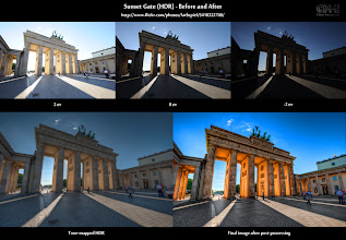 """Photo: HDR Before-and-After: Sunset Gate (Expand this post for some additional infos)  What's the news? 1. Take my new HDR photography poll [ http://bit.ly/pXIabW ] 2. Join The G+ HDR List [ http://wp.me/pZoHG-pu ]  About this Post This is the before-and-after comparison of the """"Sunset Gate"""" HDR image posted yesterday. Take a closer look to see how the final image came about. In top row, you can see the source images straight out of the camera. In the bottom row, you see the tone-mapped image and the final result after the post-processing.  Visit my HDR Cookbook at farbspiel.wordpress.com to learn the techniques I used.  Enjoy!  Resources - Final image on G+: [ http://bit.ly/qo6qmm ] (see what other people think about it) - flickr photo page: [ http://flic.kr/p/9fNjyU ] (lots more behind-the-scenes information) - Many more B&A comparisons: [ http://wp.me/pZoHG-oG ] (Want more of this? Take a look!)"""