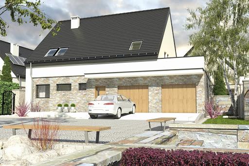 projekt Bernikla z garażem 2-st. A1 na paliwo stałe