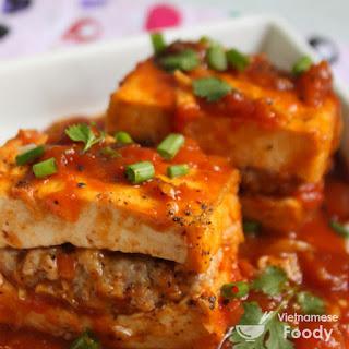 Pork-Stuffed Tofu In Tomato Sauce (Đậu Hũ Nhồi Thịt Sốt Cà Chua)