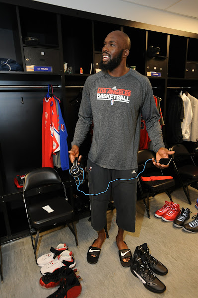 Photo: SAN ANTONIO, TX- MAY 15: In the visitors locker room prior to the game against the San Antonio Spurs during Game One of the Western Conference Semifinals during the 2012 NBA Playoffs.