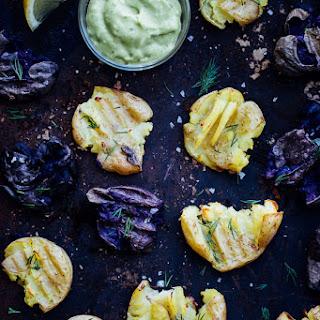 Smashed Roasted Potatoes with Avocado Dill Aioli