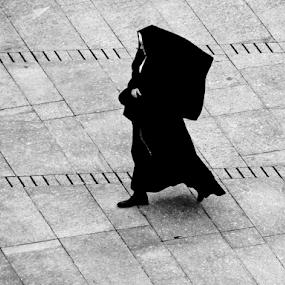 nun by Renato Dibelčar - People Street & Candids ( walking, monochrome, nun, outdoor, slovenia, street, ljubljana, castle, people, walk, women )