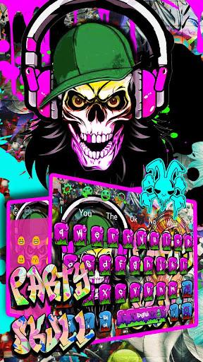 Graffiti Party Skull Keyboard Theme 10001004 screenshots 3