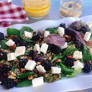 Blackberry Mozzarella Spring Salad With Lemony Salad Dressing And Sesame Seeds