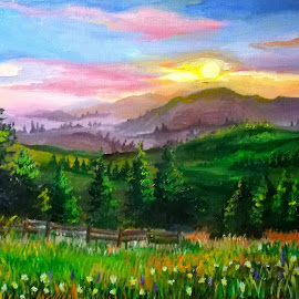 Sunset over Rodnei Mountains by Livia Copaceanu - Painting All Painting ( oilpainting, mountain, sunset, painting )
