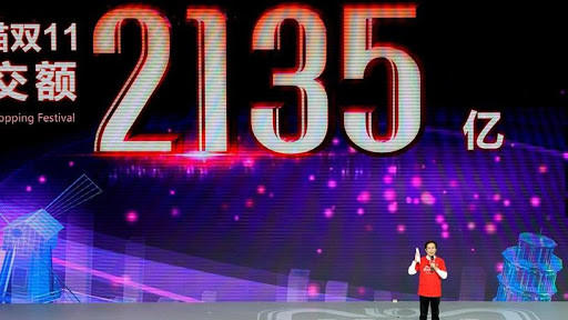 Alibaba CEO Daniel Zhang on stage during the company's Singles' Day shopping festival.