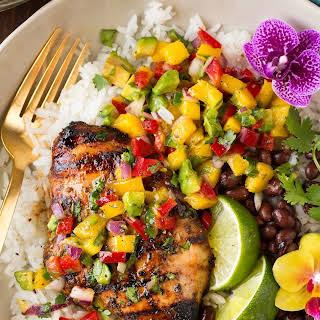 Jerk Chicken with Mango Avocado Salsa and Coconut Rice.
