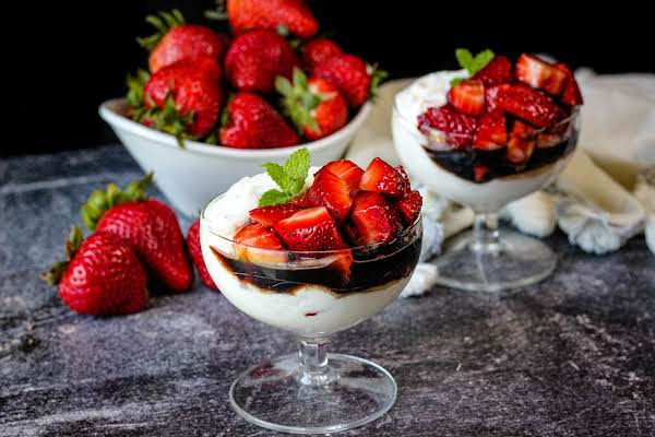 Ricotta Mascarpone Mousse With Balsamic Strawberries In A Glass.
