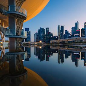 Singapore Skyline Sunset Glow by Martin Yon - City,  Street & Park  Skylines ( building, skyline, reflection, sunset, art, hour, museum, singapore, golden, city )