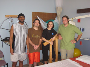 Photo: Marcus, Devin, Heather & Brent... in one of Seton's Physical Therapy gyms... Brent, our Torture Master... er, sorry... our EXERCISE coach.