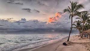 A beach in Punta Cana, Dominican Republic, at dusk.