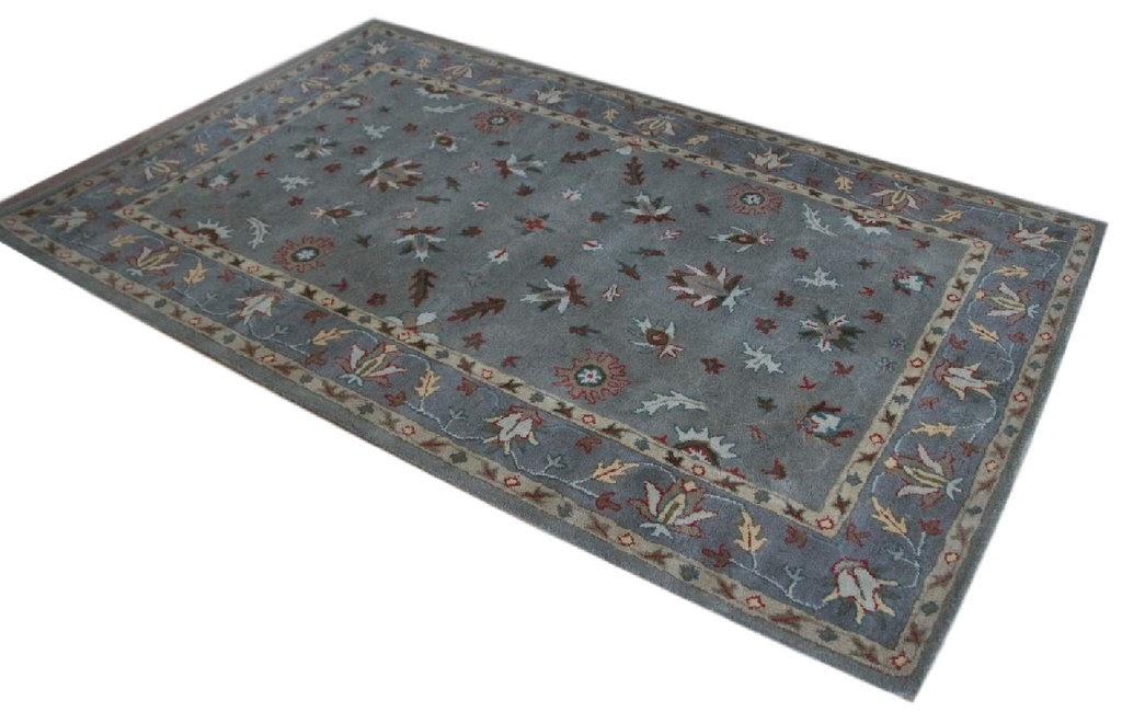 szary dywan persian ziegler wełniany ręcznie tkany 155x245 tradycyjny kwiatowy