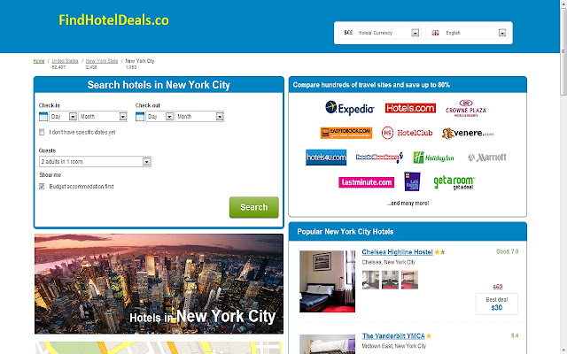 New York city cheap hotels under 100