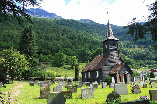 Norway-Aurlandsfjord-Flam-Church - The Flam Church was built in 1670, one of the many sights in Flam, Norway.