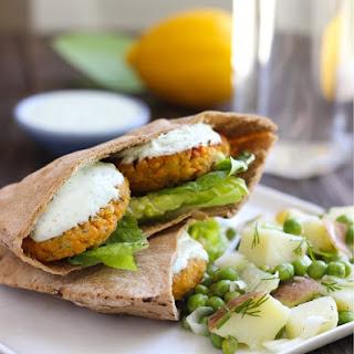 Gluten-free Falafel with Yogurt-Dill Sauce.