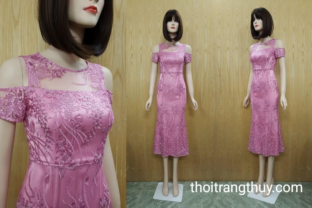 Váy ren dự tiệc đuôi cá hở vai hồng thạch anh V513 Thời Trang Thủy