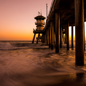 Afterglow over the Pier by Kazuki Nakamura - Landscapes Beaches ( afterglow, sand, sunset, ocean, beach, seascape )