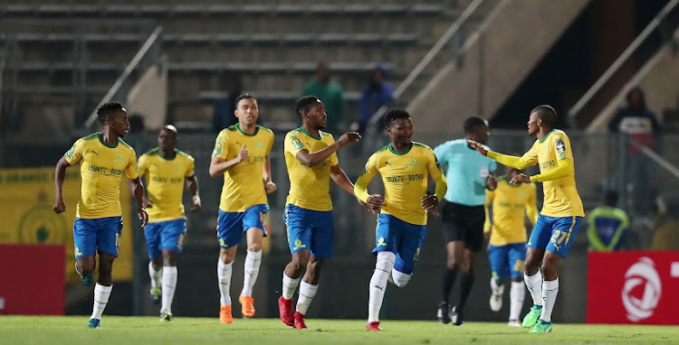 Sibusiso Vilakazi of Mamelodi Sundowns celebrates goal with teammates during the 2018 CAF Champions League match between Mamelodi Sundowns and Wydad at Lucas Moripe Stadium, Atteridgeville on 05 May 2018.