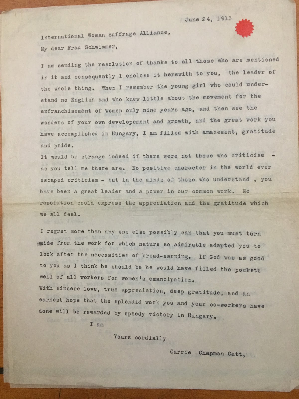 Letter from Carrie Chapman Catt to Rosika Schwimmer