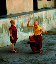 Photo: Found these two Tibetan monks at the most unexpected place in Shimla, India ! I had that emotional moment where I thought India was so poor and these poor kids can't even afford a football . Apparently they don't need to, they were playing a completely different game with a rubber thing known as 'Chungi' which is a popular local play which these two ace at :)