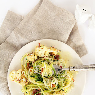 Zucchini Spaghetti, Crispy Prosciutto and Roasted Cauliflower with Lemon-Parmesan Sauce.