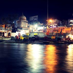 Ganges by Siddhartha Chitranshi - Travel Locations Landmarks ( ganges, night, india, holy, places, worship, haridwar, river, lights )